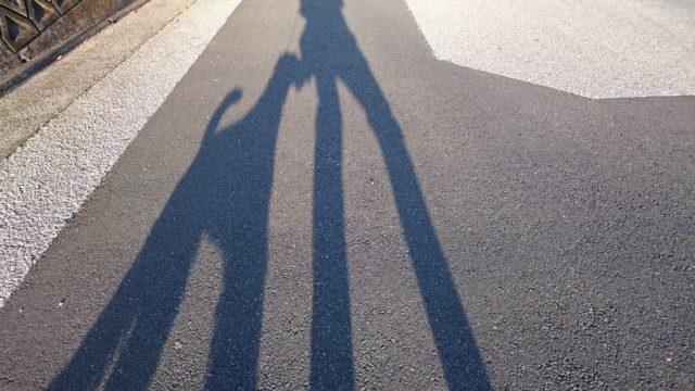 後ろを歩くフーちゃんの影絵の写真